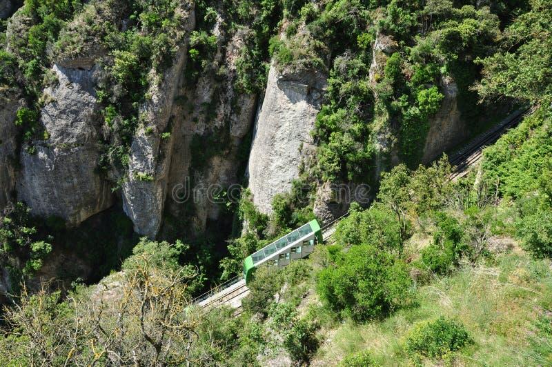 Funicular na halnym Montserrat obraz stock