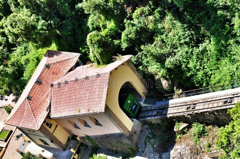 Funicular na halnym Montserrat fotografia royalty free