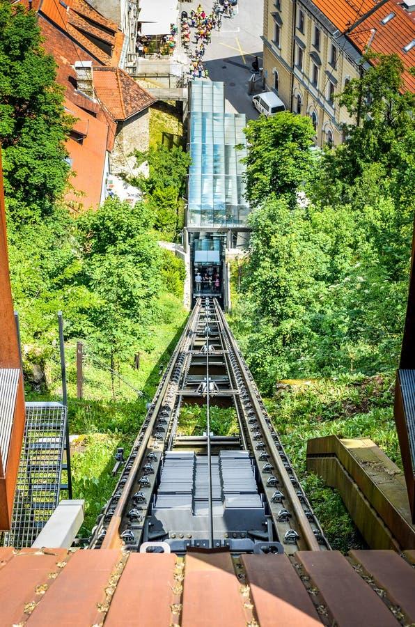 Funicular Railway of Ljubljana in Ljubljana Castle Capital of Slovenia. royalty free stock image