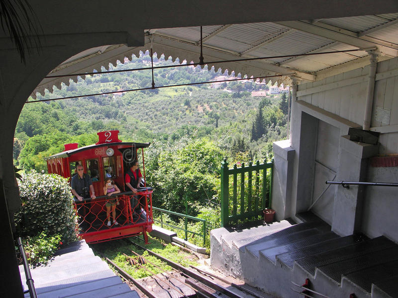 Funicular Railway running between Montecatini Terme and Alto royalty free stock image