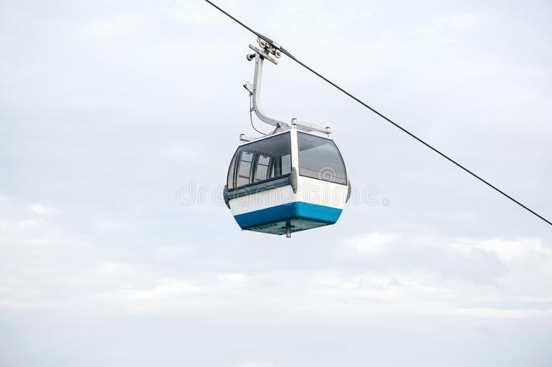 Funicular or ropeway and public transport through gulf or river or channel in Lisbon in Portugal. stock images
