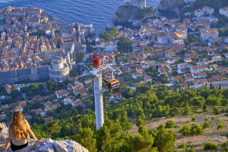 Funikulär in Dubrovnik kroatien lizenzfreie stockbilder
