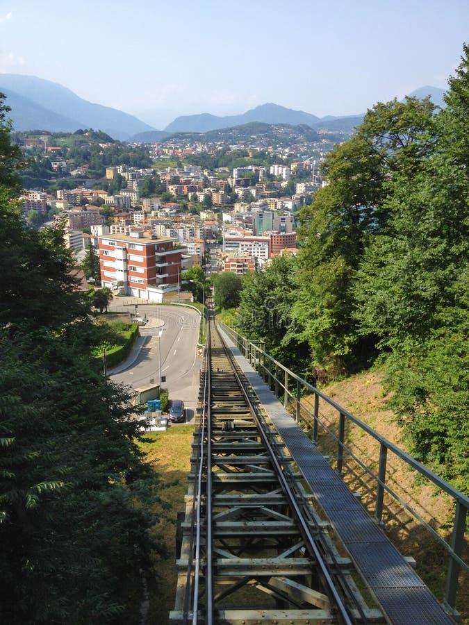 Funikulärer Transport von Paradiso zur Spitze von Monte San Salvatore, Lugano, die Schweiz lizenzfreie stockfotos