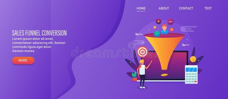 Funil das vendas, otimização da conversão, rendimento em linha do negócio, conceito de mercado de entrada Bandeira da Web com fun ilustração stock