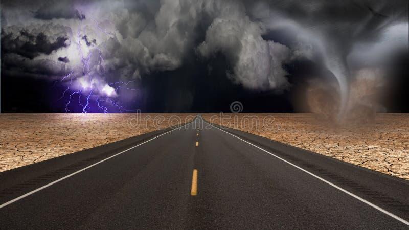 Funil do furacão na paisagem da estrada do deserto ilustração stock