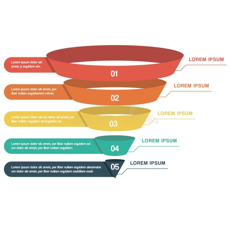 Funil do infographics do negócio imagem de stock
