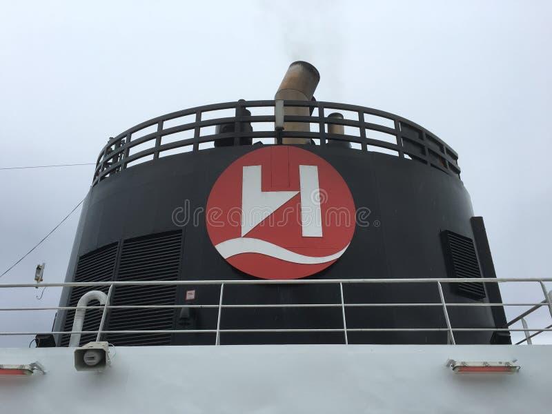 Funil do navio com logotipo fotografia de stock royalty free