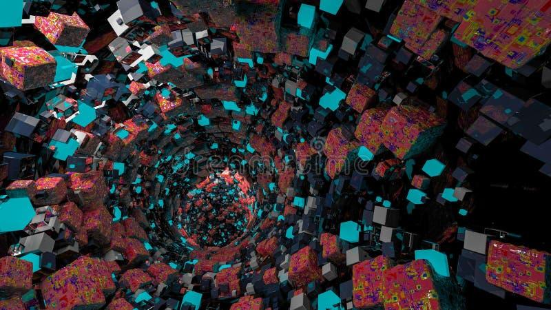 Funil dos cubos Formas da geometria que vai para cima e para baixo Formulário isométrico do seção transversal do cubo ilustração  ilustração royalty free