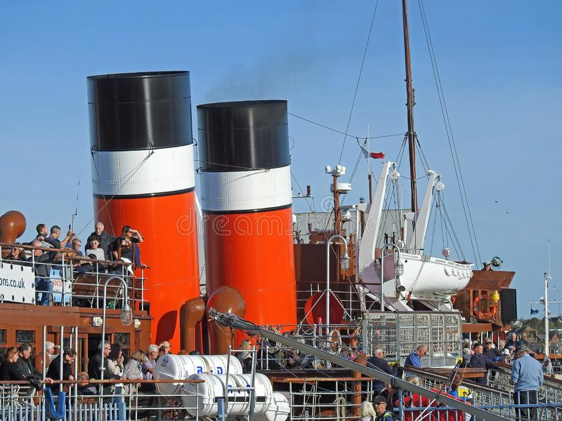 Funis gêmeos do navio do navio de pá do waverley fotos de stock royalty free