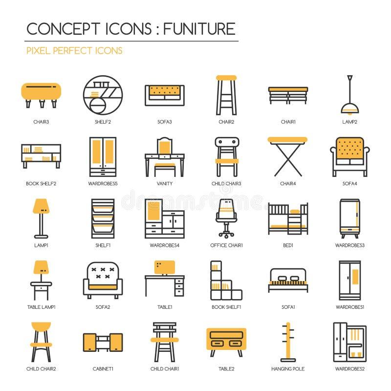 Funiture, icônes parfaites de pixel illustration de vecteur