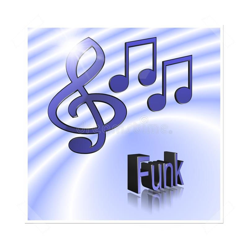 Funk Music - 3D illustration: symbol image for music, entertainment and culture royalty free illustration