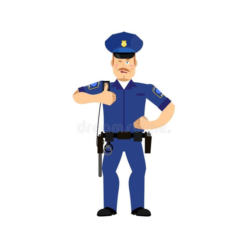 Funkcjonariuszów policji mrugnięcia Policjant aprobat rozochocona emocja ilustracji
