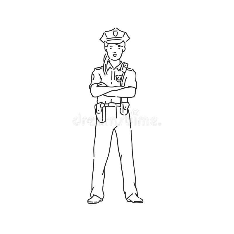 Funkcjonariusz policji kobieta w profesjonalisty mundurze Kreskowej sztuki stylu charakteru wektorowa czarna bia?a odosobniona il ilustracji