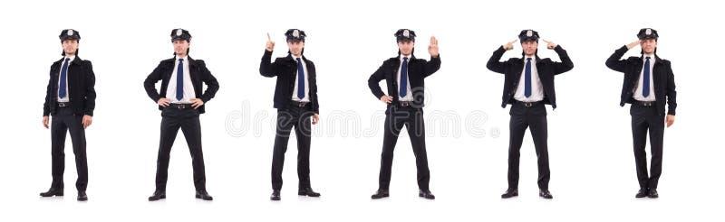 Funkcjonariusz policji odizolowywający na bielu obrazy royalty free