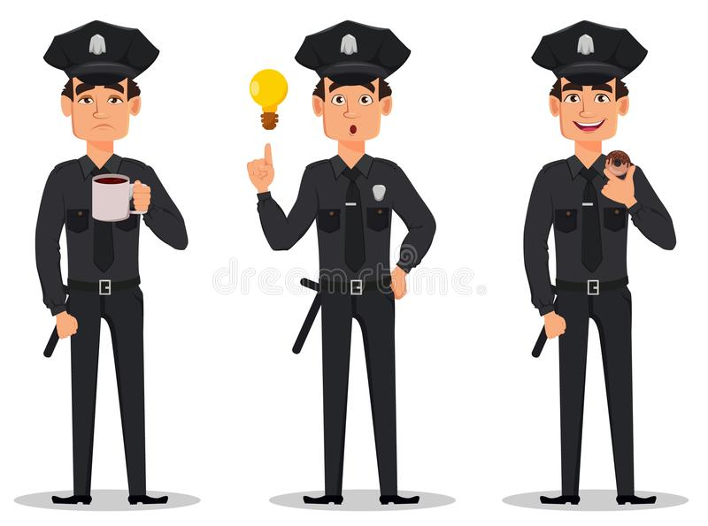 Funkcjonariusz policji, policjant Set męczący postać z kreskówki policjant z dobrym pomysłem z pączkiem i, ilustracji