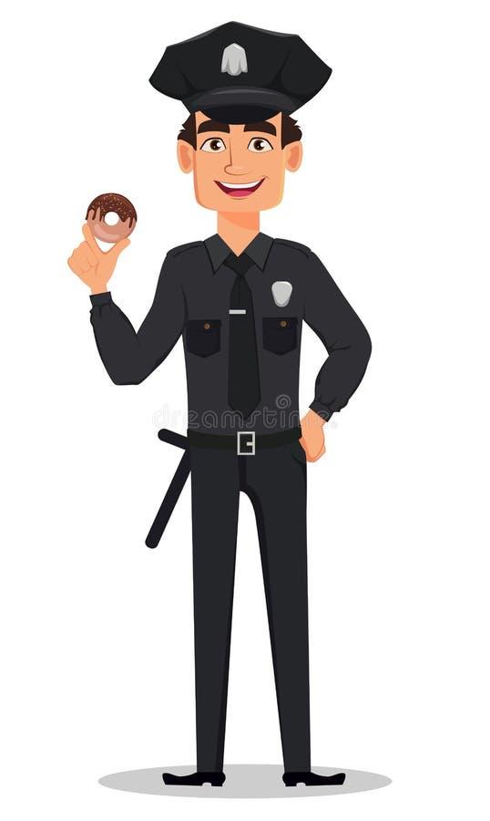 Funkcjonariusz policji, policjant Uśmiechnięty postać z kreskówki policjant royalty ilustracja