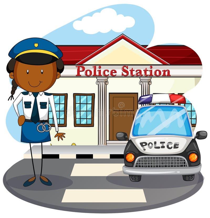 Funkcjonariusz policji pracuje przy komendą policji ilustracja wektor