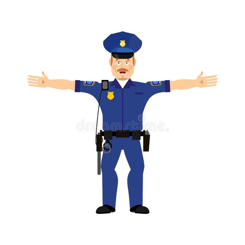 Funkcjonariusz policji Szczęśliwy Emoji odizolowywał Policjant wesoło emocja ilustracja wektor