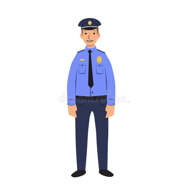 Funkcjonariusza policji charakter Płaska wektorowa ilustracja pojedynczy białe tło royalty ilustracja