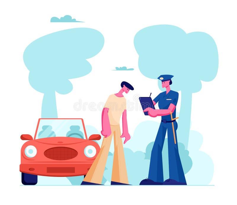 Funkcjonariusza Policji charakter w mundurze Pisze Świetnie na drodze intruz Prawo ochrona, Samochodowego ruchu drogowego inspekt royalty ilustracja
