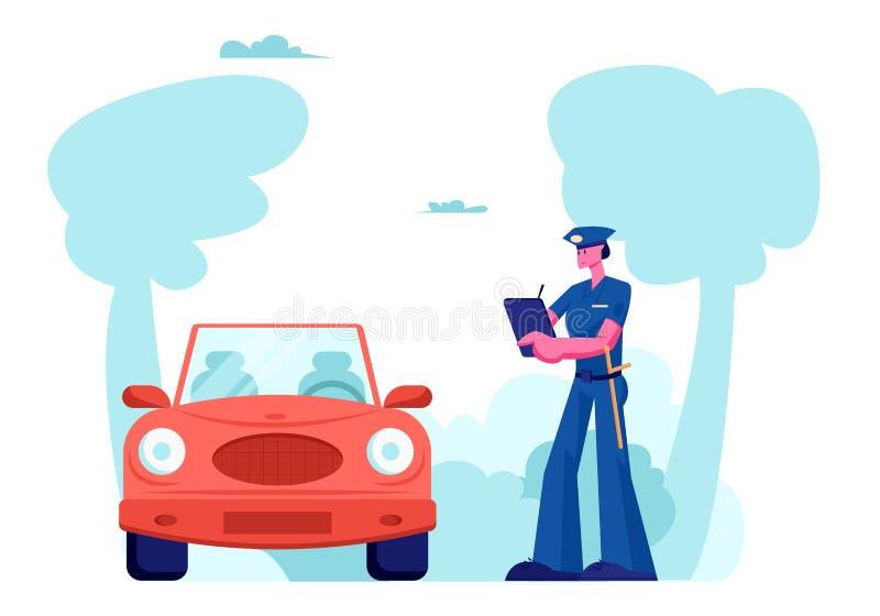 Funkcjonariusza Policji charakteru stojak blisko samochodu Pisze Świetnie na drodze Prawo ochrona, Samochodowego ruchu drogowego  ilustracji
