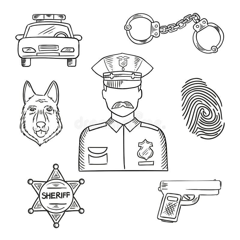Funkcjonariusza policji lub policjanta zawodu nakreślenia ikona royalty ilustracja