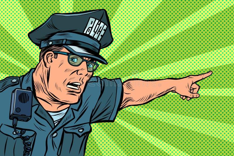 Funkcjonariusza policji policjant wskazuje kierunki ilustracji