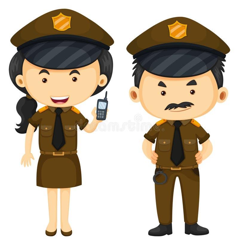 Funkcjonariuszi policji w brązu mundurze ilustracja wektor