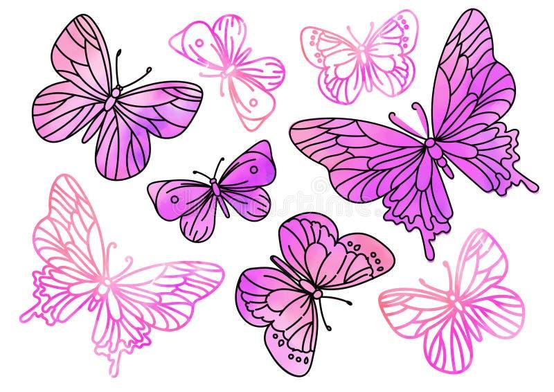 Funkeln-Cliparte ROSA SCHMETTERLINGE Farbvektor-Illustrations-magische schöne Bild-Farben-Zeichnung gesetztes Scrapbooking golden vektor abbildung