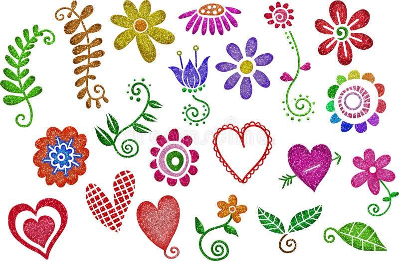 Funkeln-Herzen u. Blumen lizenzfreie abbildung