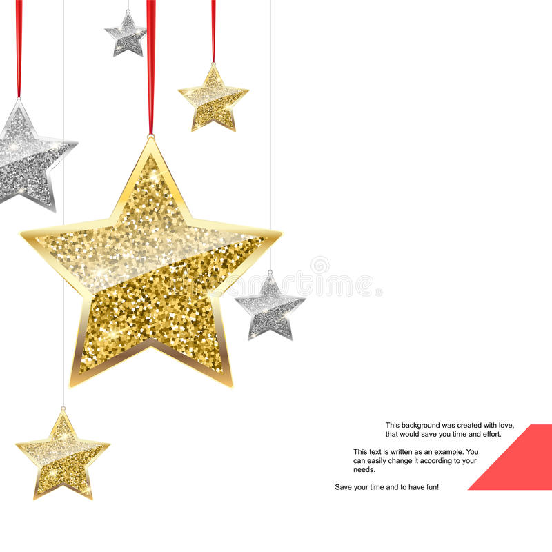 Funkeln-Hintergrund mit Silber-und Goldhängenden Sternen vektor abbildung