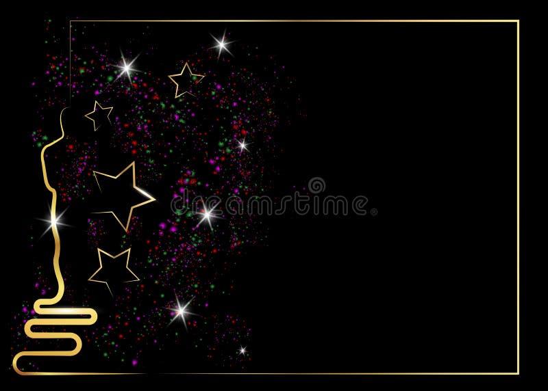 Funkeln schwarzer Hintergrund mit goldenem Statuenschattenbild Oscarikone in der flachen Art Goldschattenbild-Statuenikone filme vektor abbildung