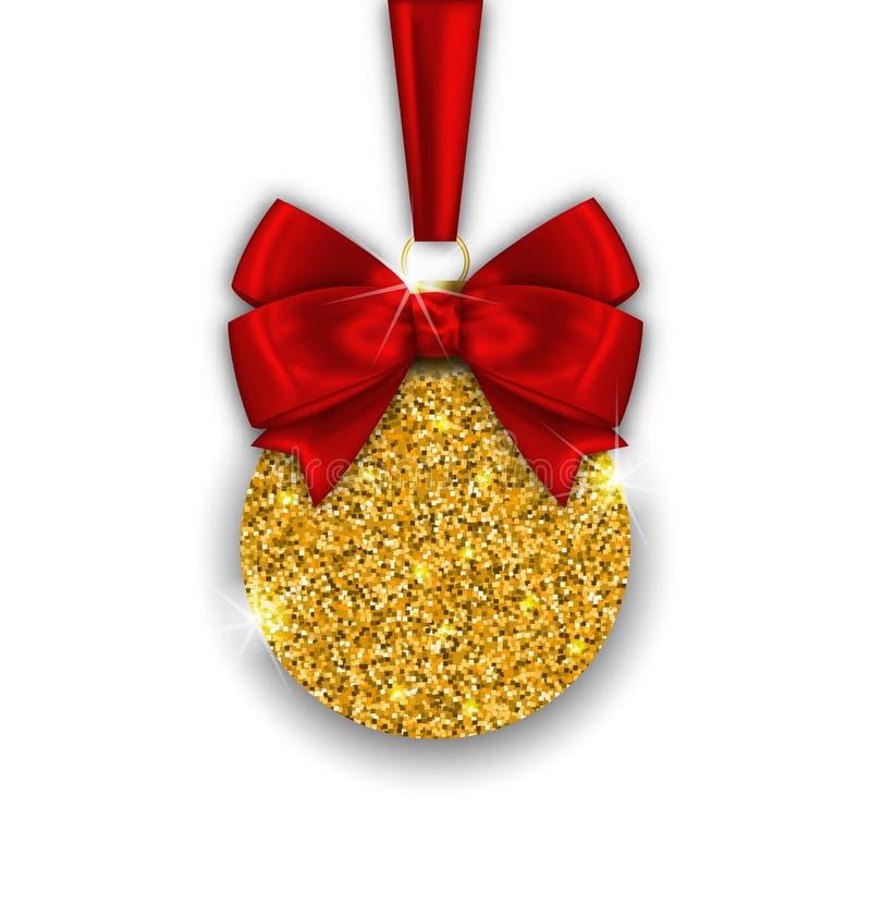 Funkeln-Weihnachtsball mit goldener Oberfläche stock abbildung
