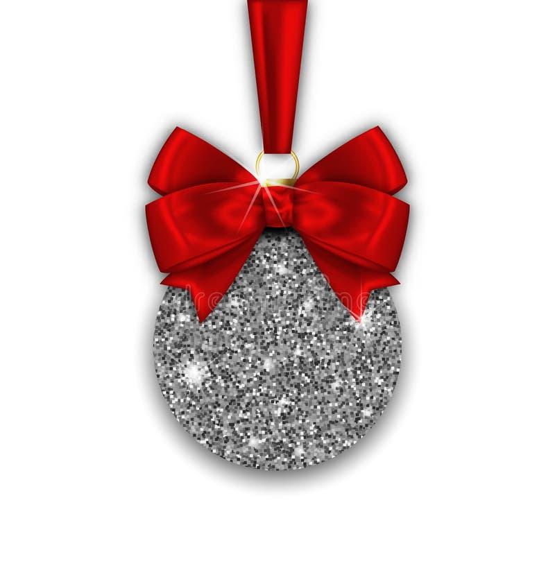Funkeln-Weihnachtsball und rotes Bogen-Band mit silberner Oberfläche vektor abbildung