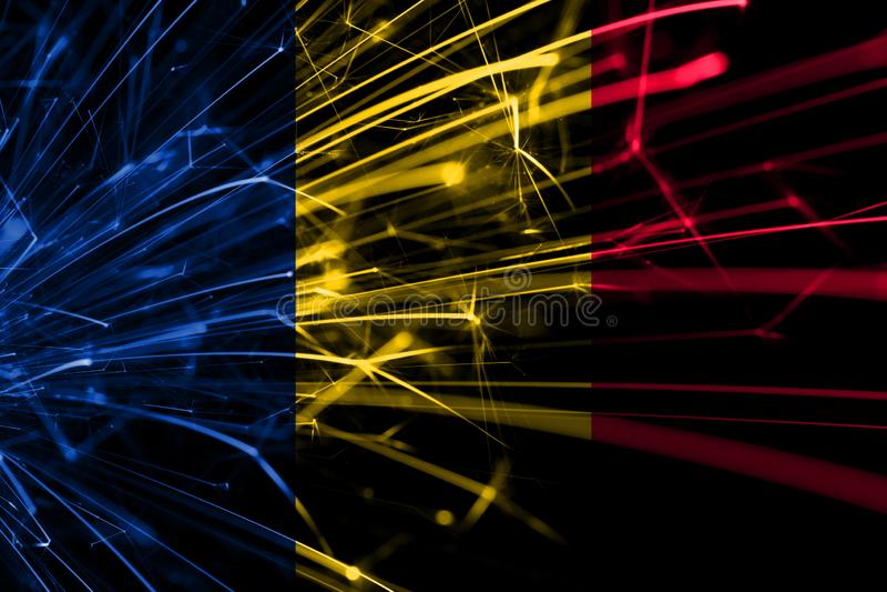 Funkelnde Flagge abstrakter Feuerwerke Tschads Konzept des neuen Jahres, des Weihnachten und des Nationaltags stockbilder