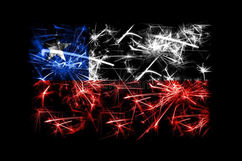 Funkelnde Flagge Chile-Feuerwerke Konzept des neuen Jahres 2019 und des Weihnachtsfests lizenzfreie abbildung