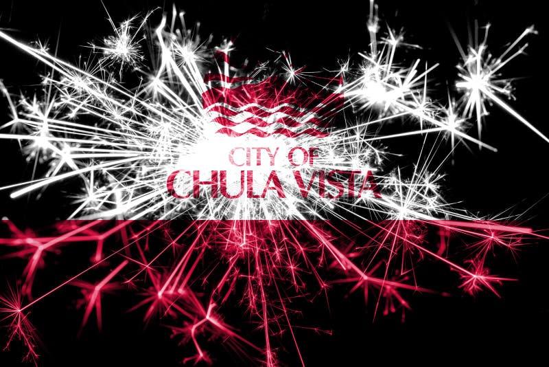 Funkelnde Flagge Feuerwerke Chula Vista, Kalifornien Konzept des neuen Jahres 2019 und des Weihnachtsfests lizenzfreie stockbilder