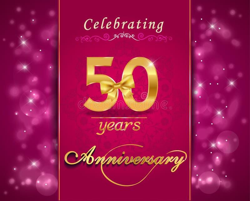 Funkelnde Karte der 50-jährigen Jahrestagsfeier, 50. Jahrestag lizenzfreie abbildung