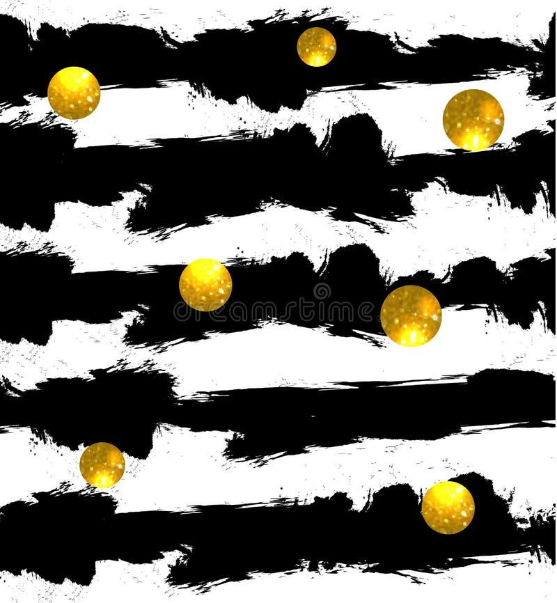 Funkelnde Kreise auf Hintergrund Goldene Kugeln Vector nahtloses Muster Schwarze Streifen stock abbildung