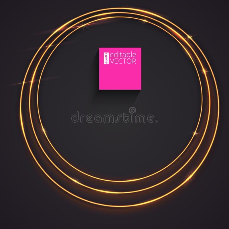 Funkelnde Ringe des goldenen Glühens lizenzfreie abbildung