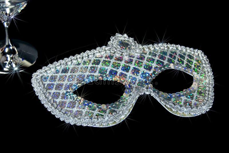 Funkelnde Sequin-silberne Schablone stockbild