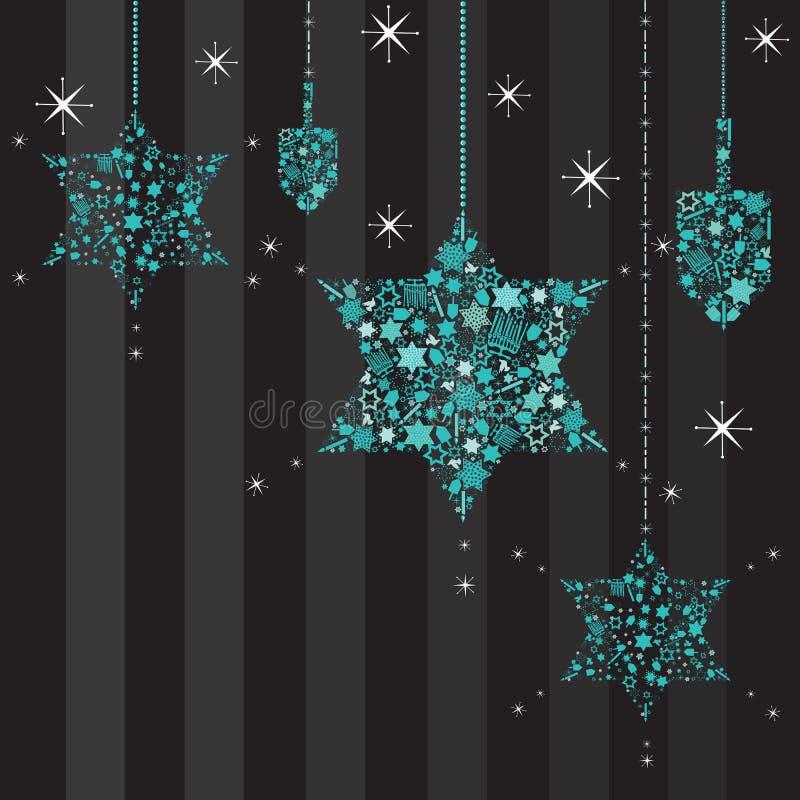 Funkelnde Sterne und Dreidels Hanukkah Karte vektor abbildung