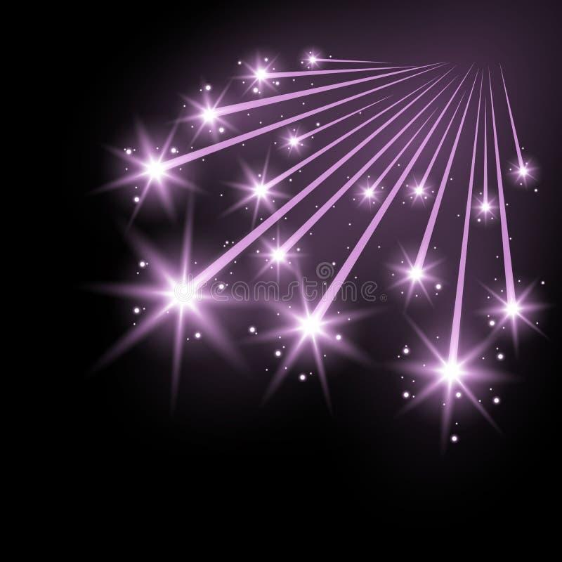 Funkelnde Sternschnuppen mit stardust, purpurrote Farbe stock abbildung
