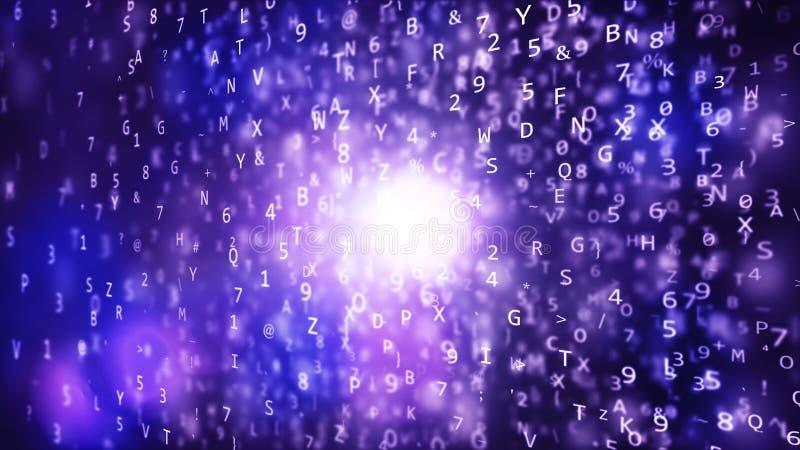 Funkelnder blauer Würfel mit Texten lizenzfreie abbildung