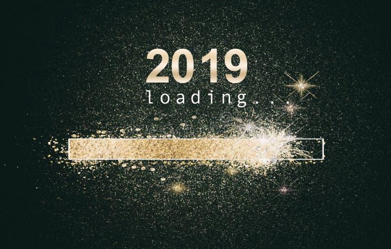 Funkelnder Hintergrund des neuen Jahres mit Ladenschirm stockbild