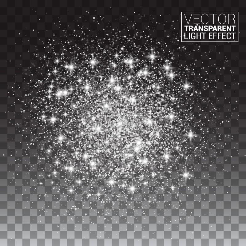 Funkelnder Hintergrund Silberne Explosion auf transparentem Hintergrund stock abbildung
