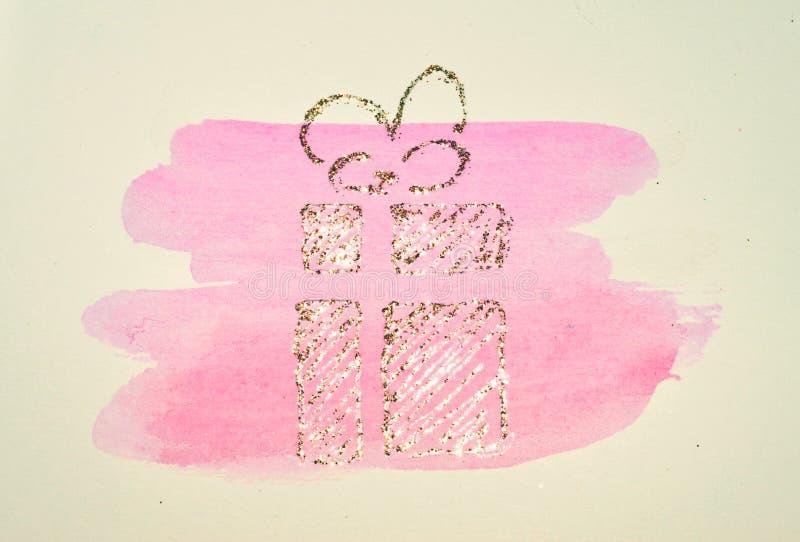 Funkelndes Geschenk, Kasten mit Bandbogen auf rosa Aquarellrundenspritzen in den nostalgischen Farben, gemacht mit goldenem Funke lizenzfreie abbildung
