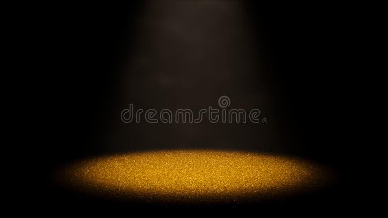 Funkelndes goldenes Funkeln auf einem Stadium beleuchtete durch einen runden Scheinwerfer durch staubige Luft stock abbildung