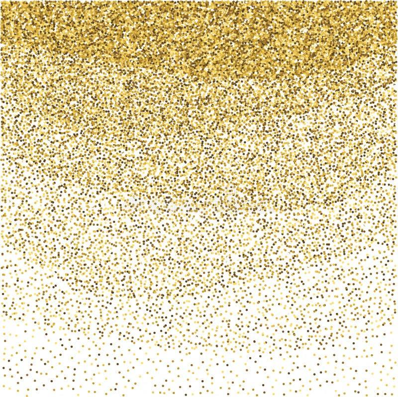 Funkelndes Muster des Goldfunkelns Dekorativer Schimmerhintergrund Glänzende bezaubernde abstrakte Beschaffenheit Goldener Konfet stock abbildung