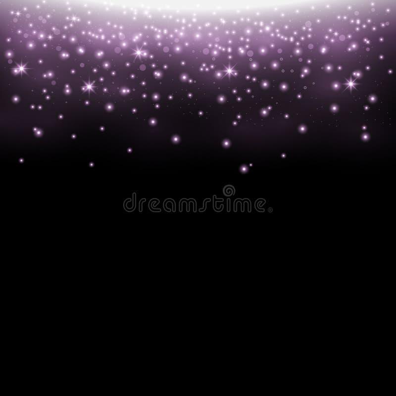 Funkelndes stardust, funkelnde Partikel, purpurrote Farbe lizenzfreie abbildung